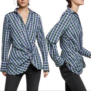 NWT Zara Draped Plaid Collared Long Sleeve Blouse